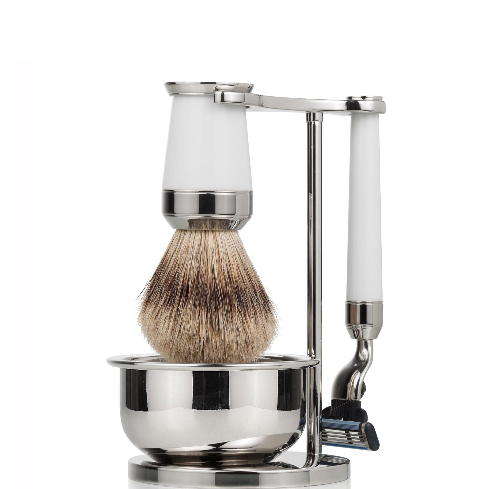 Scheerset & bowl Premium Mach3 - Silvertip - wit