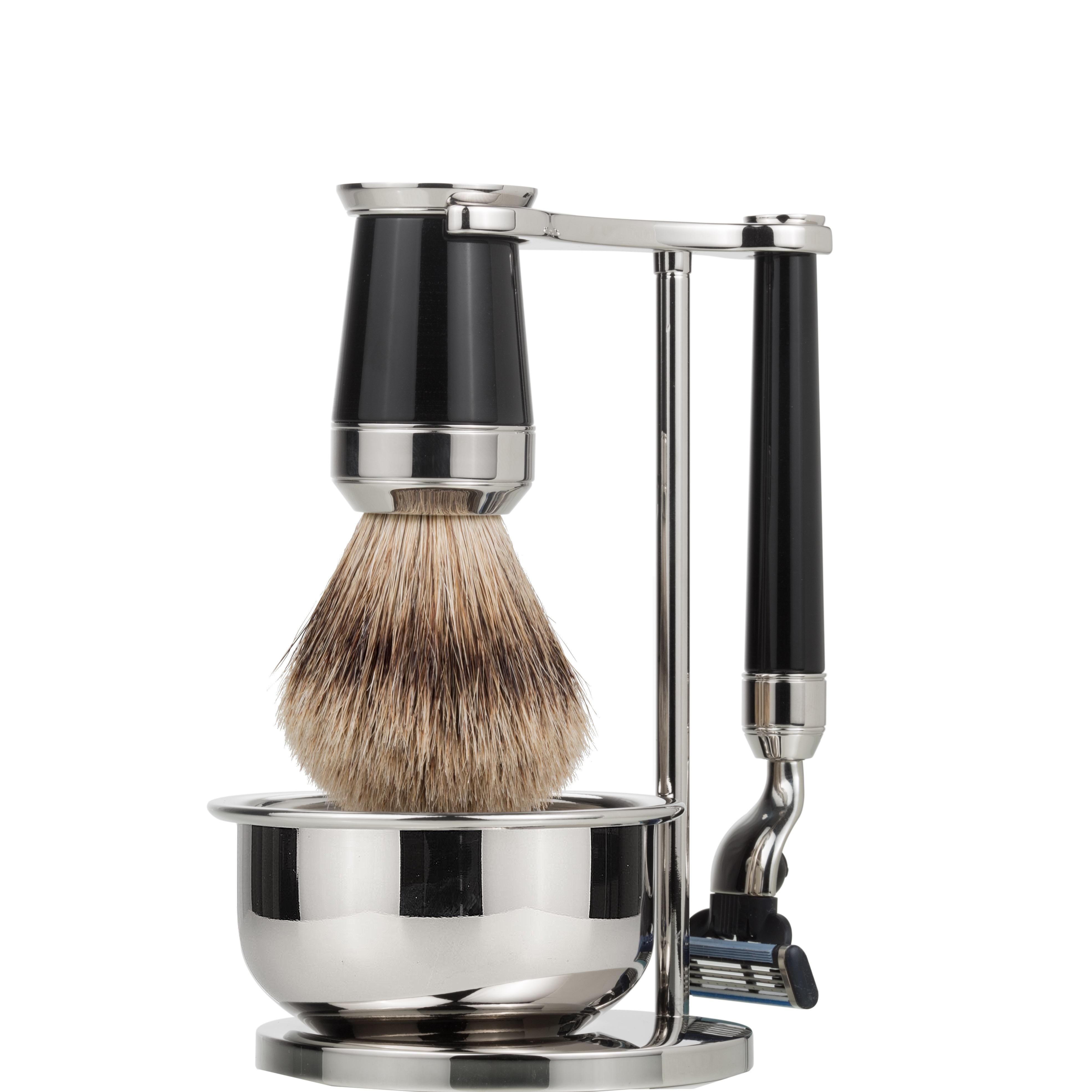 Scheerset & bowl Premium Mach3 - Silvertip - zwart