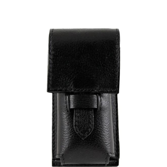 Etui voor scheerkwast in zwart leder